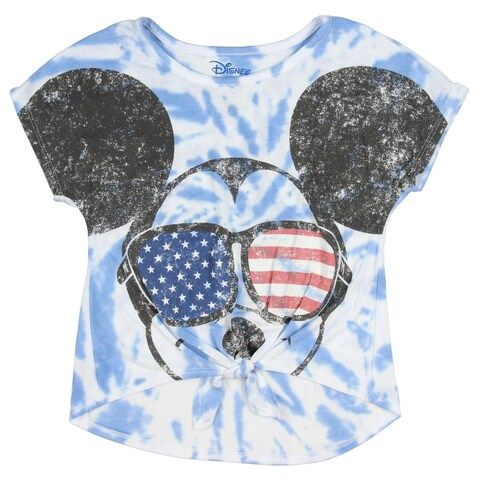 Disney Mickey Mouse Little Girls' USA Shades Tie Dye Front Tie Tee