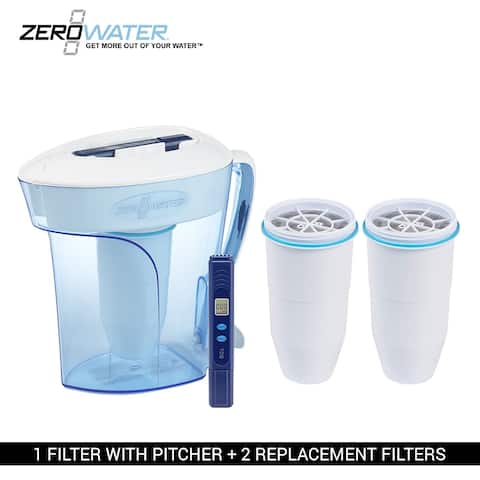 Zero Water 10-Cup Ion Exchange Water Dispenser Pitcher & 2 Replacement Filters Combo
