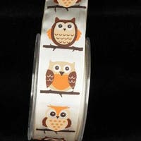 "Ivory White ""Big Owl"" Wired Craft Ribbon 1.5"" x 27 Yards"