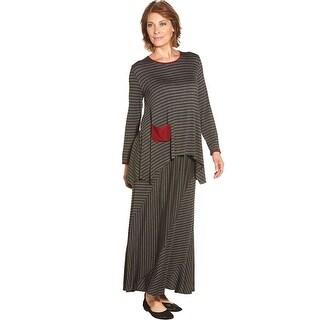 Women's Maxi Skirt - Charcoal Gray Striped Long Skirt