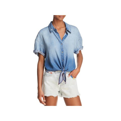 Splendid Womens Roma Casual Top Button-Down Cropped