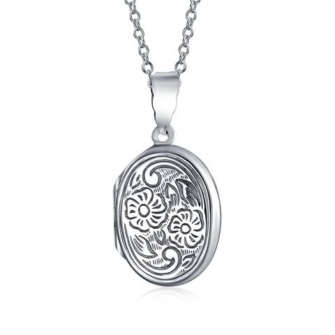 Vintage Style Embossed Photo Oval Lockets For Women That Hold Pictures .925 Sterling Silver Locket Necklace - 18