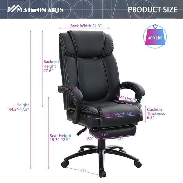 Swivel Gaming Chair with High Back  Recliner PU Leather Seat With Armrest And Fo