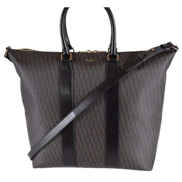 817abb5e304 Saint Laurent YSL 359212 Printed Canvas Leather Signature Toile Tote Bag  W/Strap - Beige