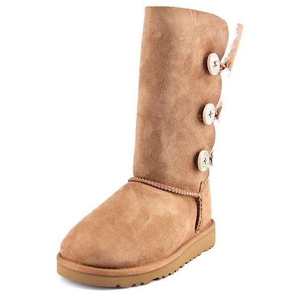 Ugg Australia Bailey Button Triplet Youth Round Toe Suede Tan Winter Boot