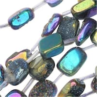 Quartz Gemstone Druzy Beads, Rectangle Nugget 11-19mm, 15.5 Inch Strand, Iridescent