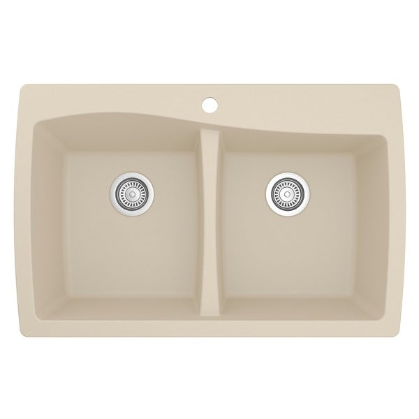 Karran Drop-In Quartz 50/50 Double Bowl Kitchen Sink. Opens flyout.