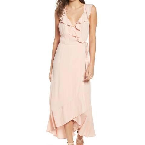 Leith Women's Dress Blush Small Wrap Ruffle-Trim Midi