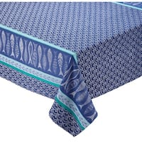 "52"" x 52"" Blue and White Santorini Jacquard Decorative Square Tablecloth"