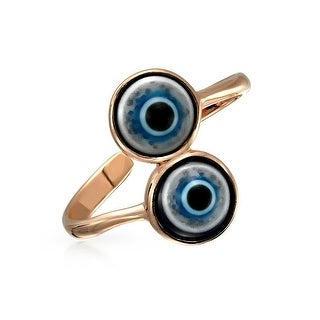 Double Evil Eye Rose Gold Plated 925 Silver Midi Toe Ring - Blue