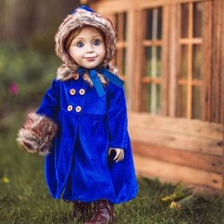 18 in Doll Clothes Outfit, Blue Velvet 1800's Coat, Hat, and More Fits American Girl