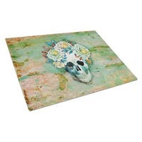Day of the Dead Skull with Flowers Glass Cutting Board, Large
