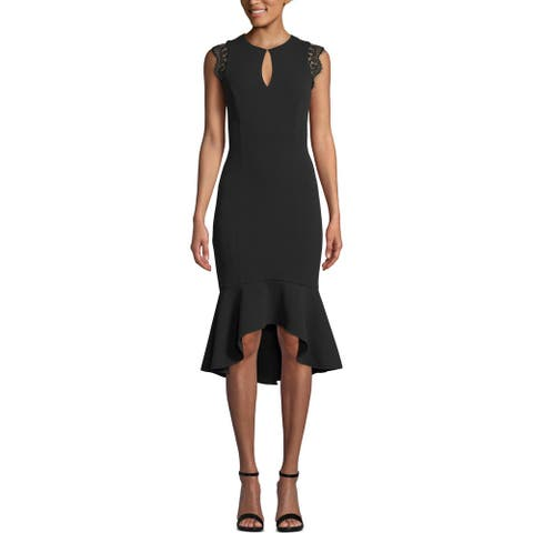Xscape Womens Midi Dress Keyhole Lace Trim - Black