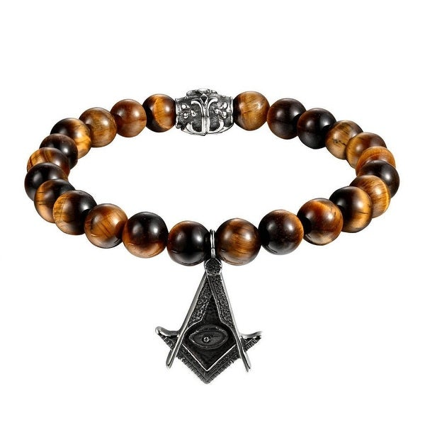 Tiger Eye Beaded Bracelet Freemason Stainless Steel Masonic Charm Shamballa 8mm