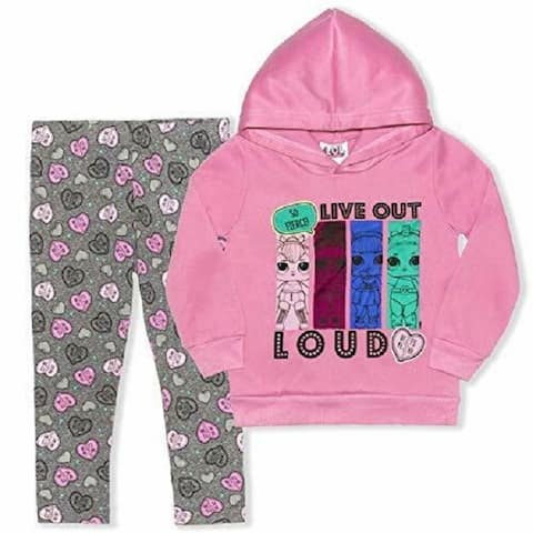 LOL Girl's 2-Piece Live Out Loud Pullover Hoodie Legging Set Pink/Grey