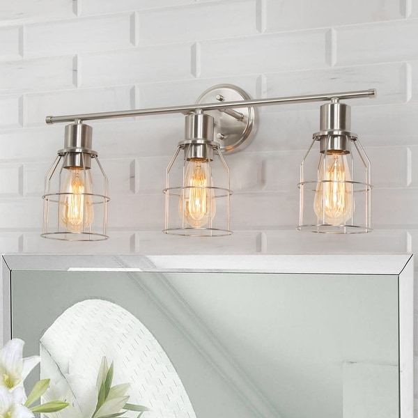"""Industrial 3-light Nickel Bathroom Vanity Light Cage Wall Sconce - L23.6"""" * W6.7"""" * H8.7"""". Opens flyout."""