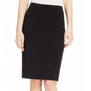 Kasper Black Womens Size 6P Petite Crepe Straight Pencil Skirt