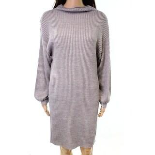 RDI NEW Gray Womens Size Large L Rib Dolman Sleeve Knit Sweater Dress
