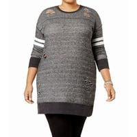 Planet Gold Gray Women's Size 1X Plus Distressed Tunic Sweater