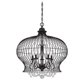 """Savoy House 7-6101-5 Abagail 5 Light 26"""" Wide 1 Tier Chandelier with Crystal Accents - forged black"""