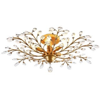 Industrial crystal K9 crystal ceiling light with gold finish