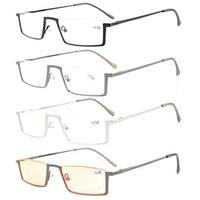 Eyekepper 4-Pack Quality Spring Hinges Half-Rim Reading Glasses+1.0