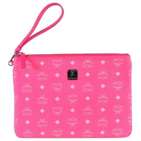 MCM Neon Pink Coated Canvas Visetos Medium Flat Purse Wristlet Pouch