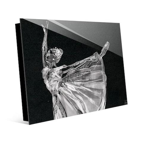 Kathy Ireland Ballerina Balance on Black Abstract on Acrylic Wall Art Print