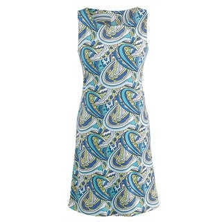 Women's Art Travel Dress - Tank Style Mod Print Scoop Neck - Blue