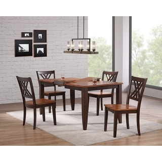 "Iconic Furniture Company 36""x52""x67"" Rectangle Whiskey/ Mocha Double X Back 5-Piece Dining Set"