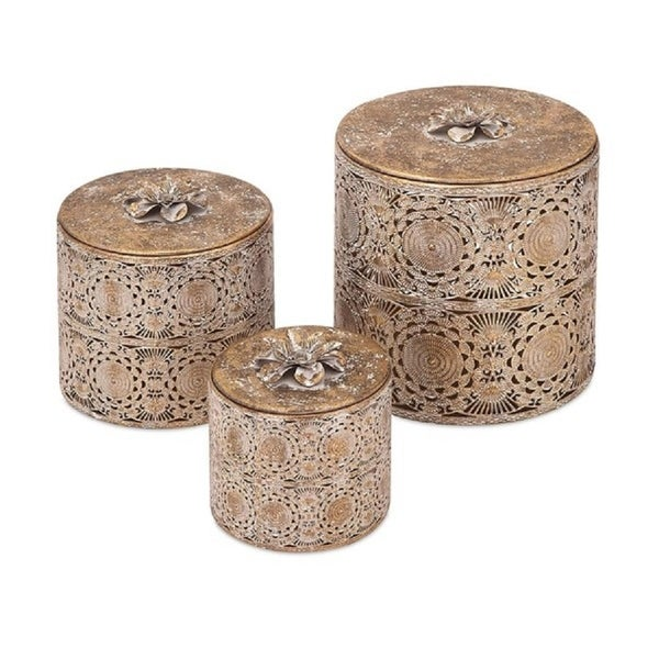 Shop Set Of 3 Morrocan Inspired Cylindrical Boxes With