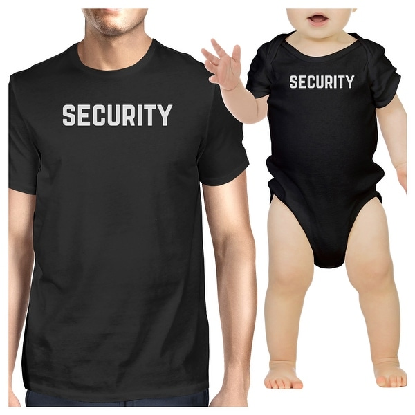 Security Mens Black T-Shirt Baby Bodysuit Funny Matching Shirts Gifts