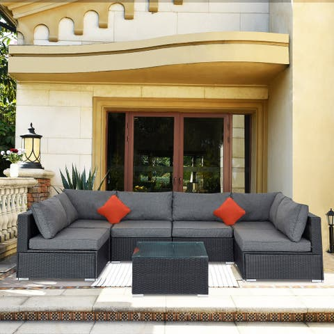 Ainfox 7 Pcs Rattan Sofa Sectional Set