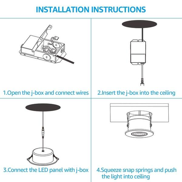 Shop Ominni 4 Pack 13 5w 6 Gimbal Led Recessed Lighting Kits With Junction Box 3000k 5000k Overstock 29115242 2