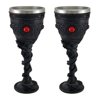 Black Dragon Celtic Knot Set of 2 Stainless Steel Lined Chalices