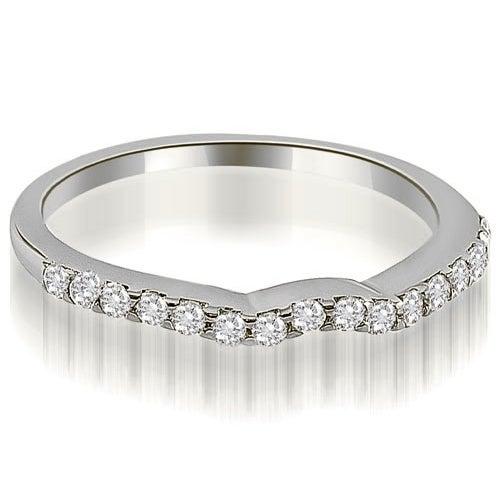 0.24 cttw. 14K White Gold Curved Round Cut Diamond Wedding Ring