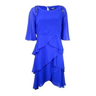 SLNY Women's Beaded Tiered Capelet Dress