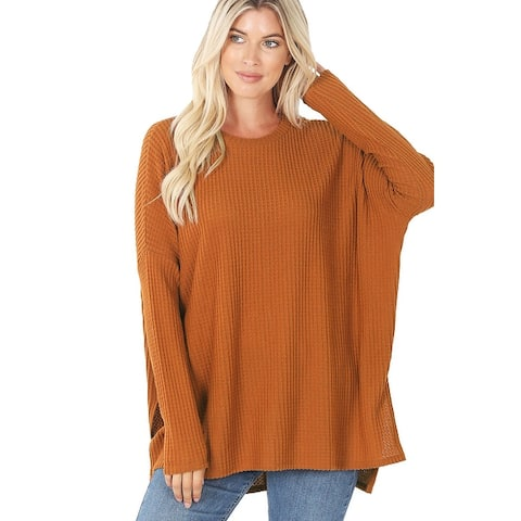 JED Women's Waffle Knit Thermal Tunic Long Sleeve Sweater Top