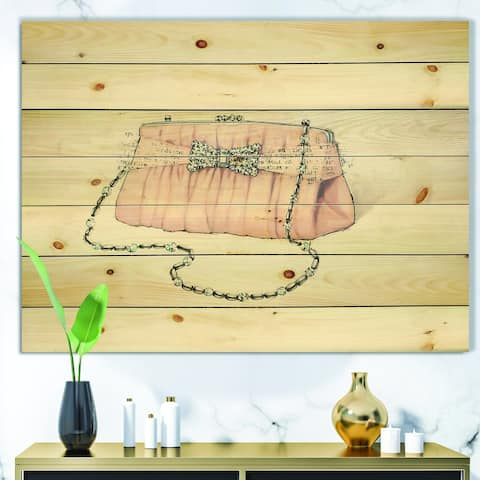 Designart 'Glamorous Sparkle Purse II' Fashion Print on Natural Pine Wood - Multi-color
