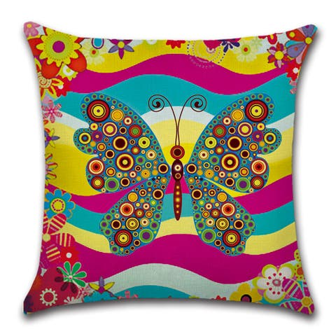 "Monarch butterfly in vibrant print decorative pillow cover for Couch or Sofa 18"" x 18"""