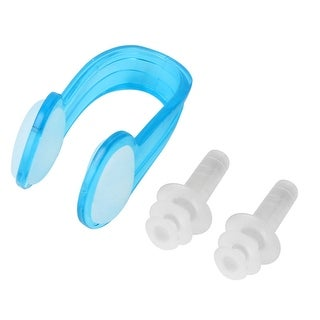 Outdoor Diving Sports Silicone Nose Clip Earplug Swim Protector Blue Clear