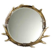 "26"" Rustic Natural Brown & Ivory Faux Stag Antler Beveled Round Wall Mirror"