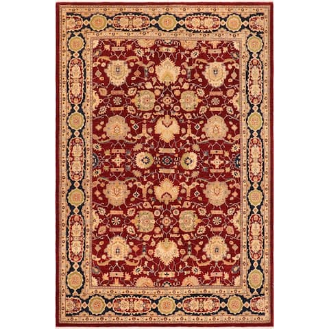 Boho Chic Ziegler Angel Red/Blue Hand knotted Rug - 10'0 x 14'3 - 10 ft. 0 in. X 14 ft. 3 in.