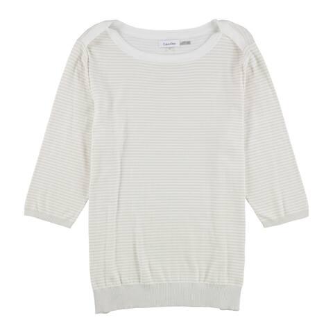 Calvin Klein Womens Striped Knit Sweater