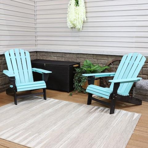 Sunnydaze Turquoise/Black Adirondack Chair with Drink Holder - Set of 2
