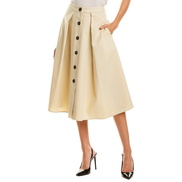 Donna Karan Pleated Button Front Skirt. Opens flyout.