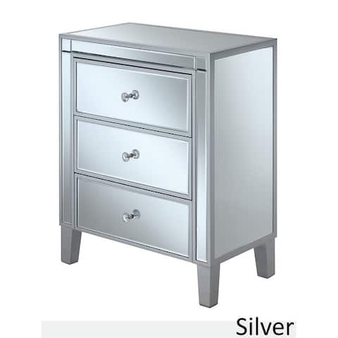 Silver Orchid Olivia 3-drawer Mirrored End Table