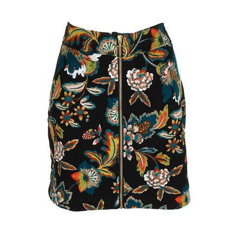 Inc International Concepts Black Multi Full Zip Floral Print Mini Skirt 0