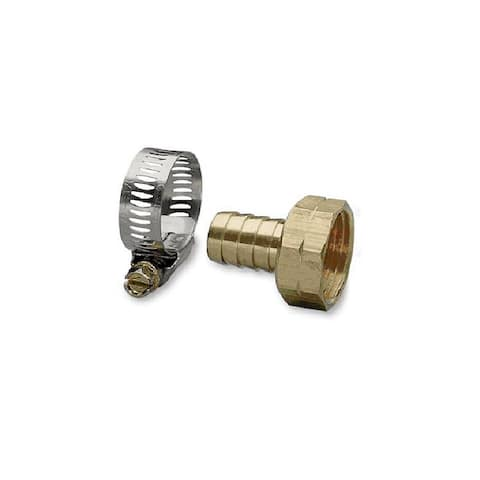 Gilmour 50454 Machined Brass Female Coupler with Worm Gear Clamp, 3/4""