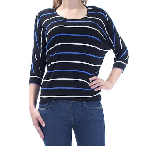 MAISON JULES Womens Black Striped 3/4 Sleeve Jewel Neck Top Size XS